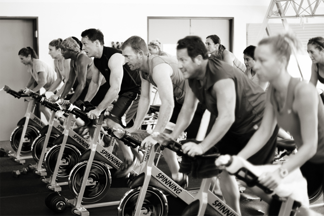 Spinning class at Studio SWEAT